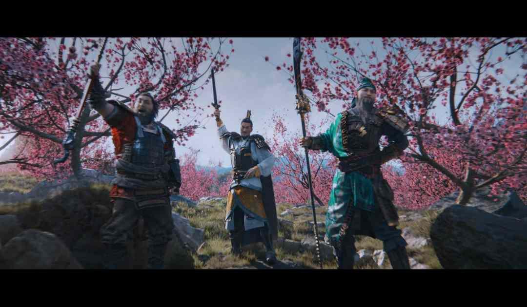 Screenshot tratto dalla cutscene iniziale di Total War: Three Kingdoms che vede il Signore della Guerra Liu Bei ed i suoi generali Zhang Fei e Guan Yu