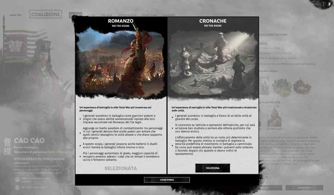 Screenshot che mostra la modalità Romanzo e la modalità Cronache su Total War: Three Kingdoms