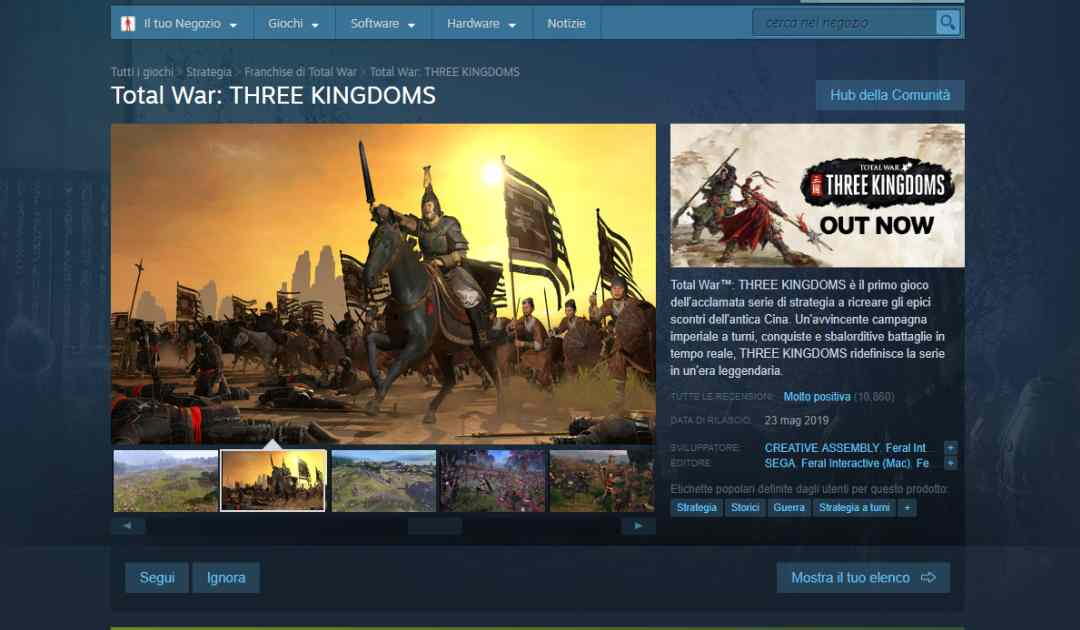 Immagine della pagina di Total War: Three Kingdoms su Steam