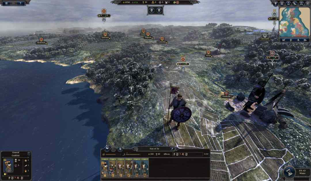 Screenshot della mappa di gioco in Total War: Thrones of Britannia