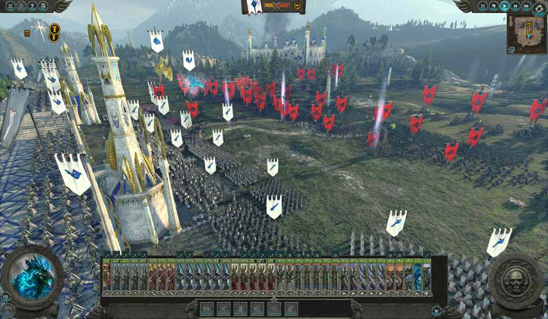 Screenshot di una battaglia tra High Elves e Dark Elves in Total War: Warhammer 2