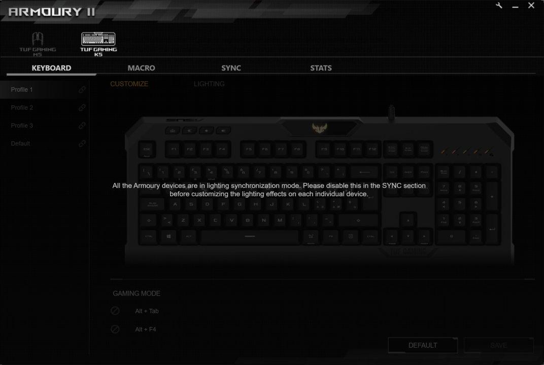 armoury II asus rog K5 sync fail