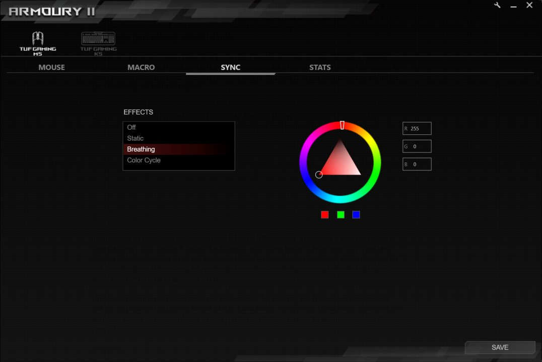 armoury II asus rog M5 colore led
