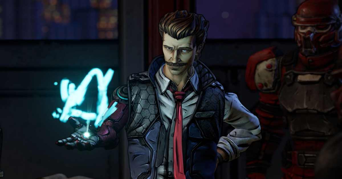 Screenshot dal trailer di annuncio di Borderlands 3 dove compare Rhys