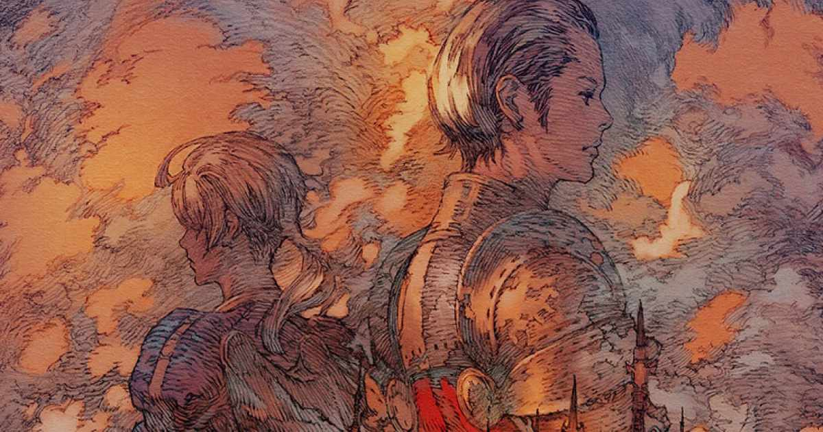 Artwork celebrativo del Raid Return to Ivalice di Final Fantasy XIV che mostra Ramza e Balthier