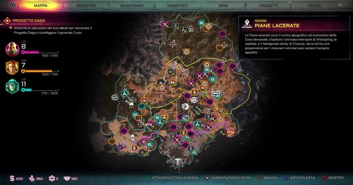 Screenshot da RAGE 2 che mostra la mappa di gioco