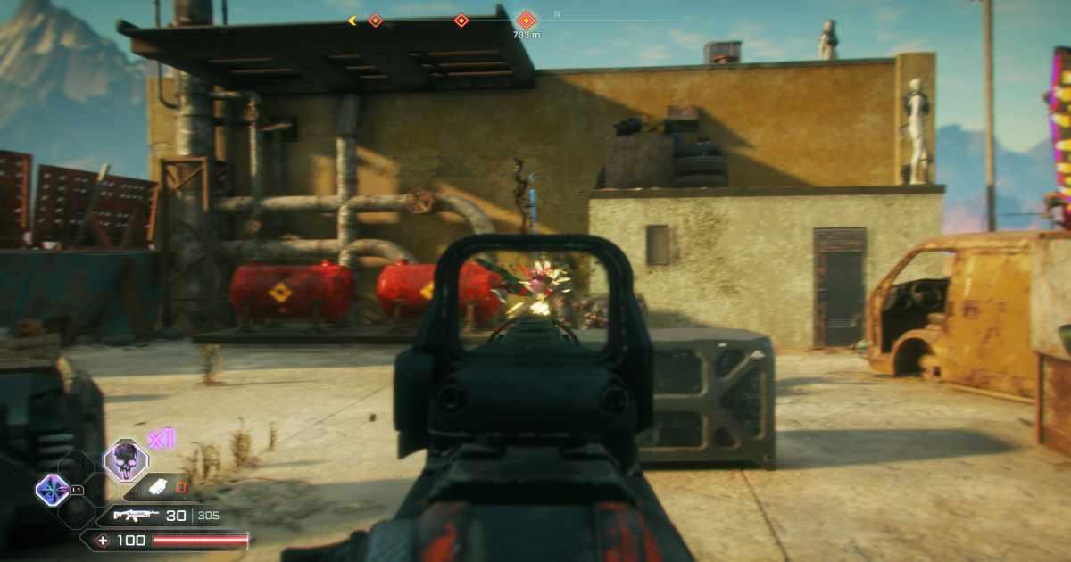 Screenshot da RAGE 2 che mostra uno scontro a fuoco