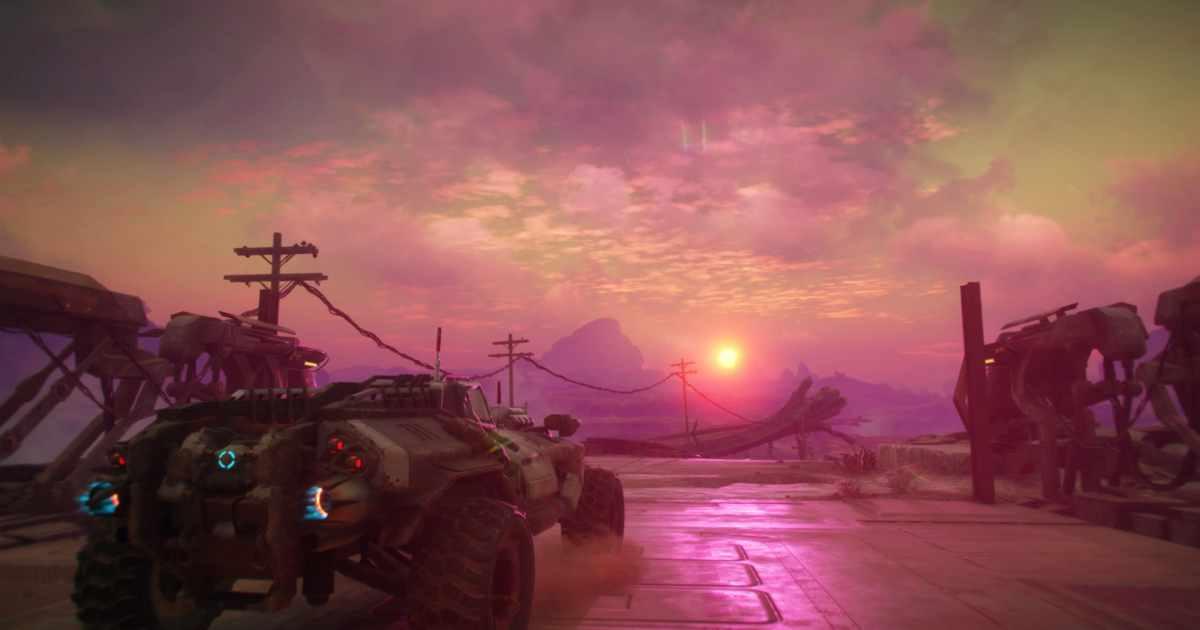 Uno screenshot della modalità fotografica di RAGE 2, che ritrae la Phoenix illuminata dall'alba