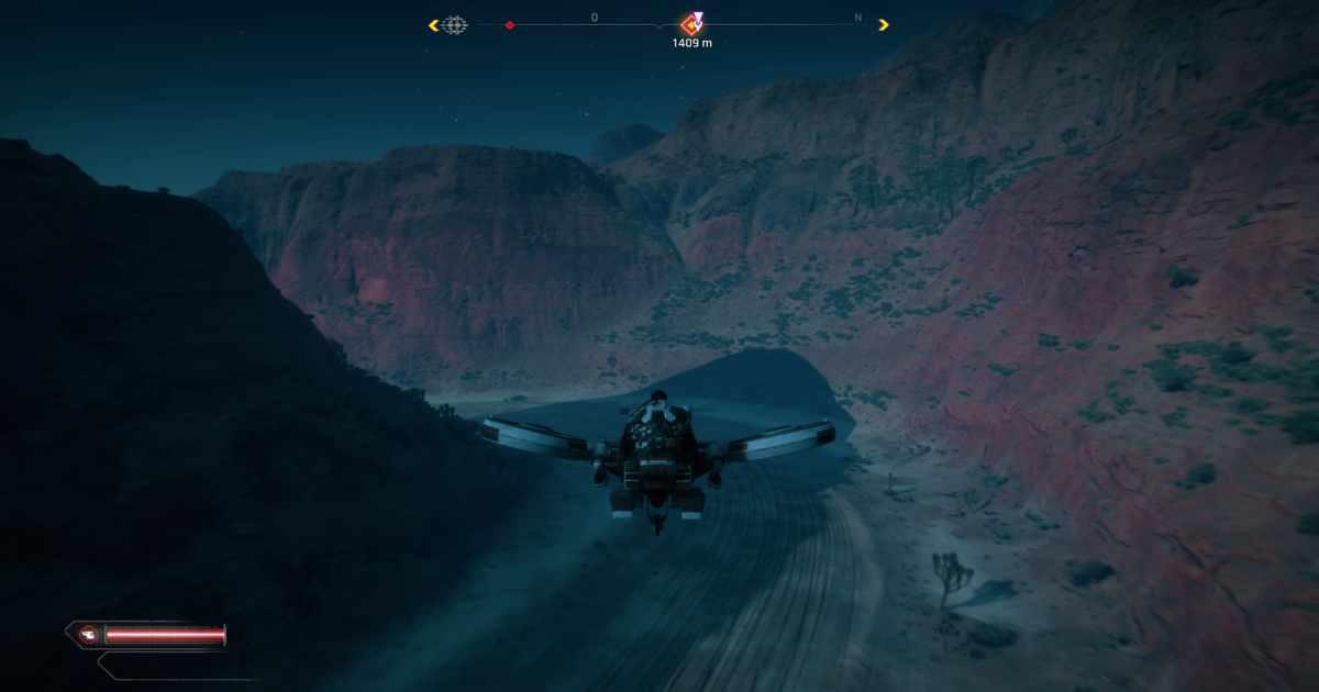 Screenshot da RAGE 2 che mostra l'ICarus, un velivolo rapido utile per esplorare la mappa