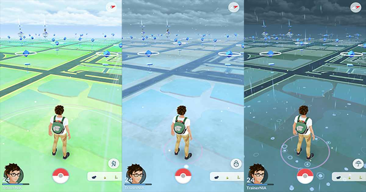 Screenshot da Pokémon Go che introduce gli effetti atmosferici
