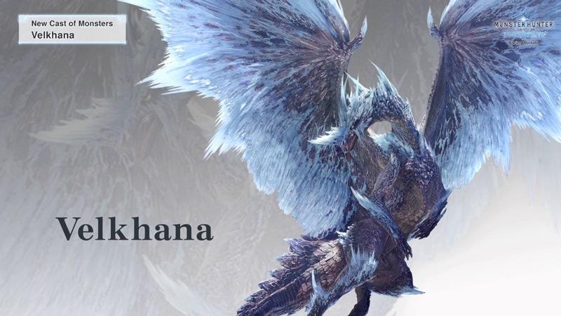 Il drago anziano flag di Iceborn, il Velkhana, Monster Hunter World, Iceborn, Nuovi mostri, mostri glaciali, mappa ghiacciata, Banbaro, Beotodus, plesioth, zamtrios