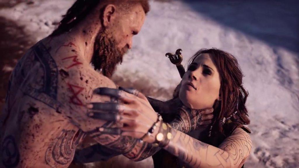 Baldur cerca di uccidere la madre Freya, strangolandola a mani nude