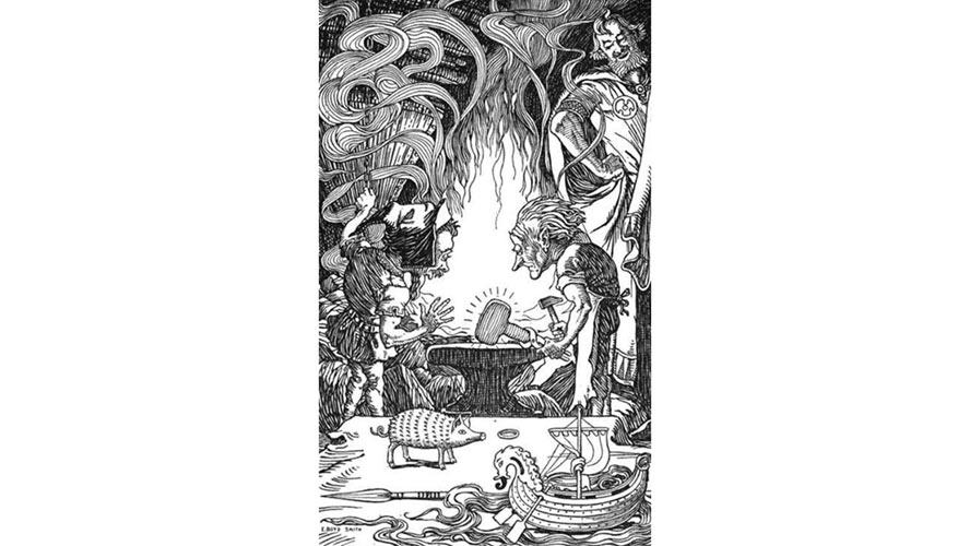 I doni forgiati dai figli di Ivaldi - illustrazione di Elmer Boyd Smith, pubblicata su In the Days of Giants, a book of Norse tales di Abbie Farwell Brown (1902)