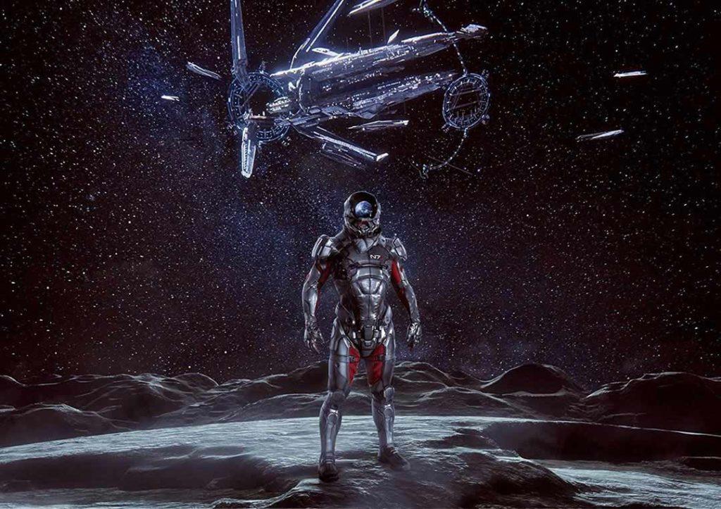 Il Pathfinder di Mass Effect Andromeda, con un'Arca sullo sfondo