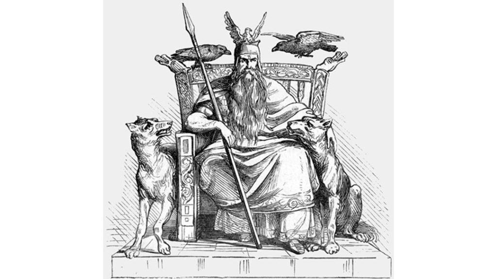 Il dio norreno Odino sul trono, insieme ai suoi due lupi Geri e Freki, ai suoi due corvi Huginn e Muninn, e alla sua lancia Gungnir - Ludwig Pietsch