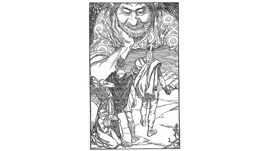 Il gigante Skrymir - illustrazione di Elmer Boyd Smith, pubblicata su In the Days of Giants, a book of Norse tales di Abbie Farwell Brown (1902)