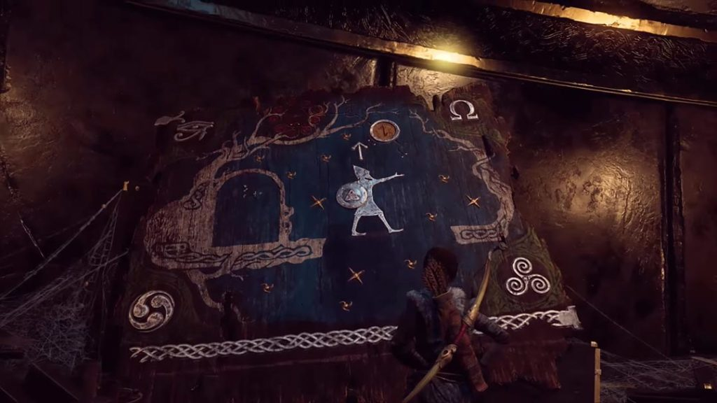 Il murale che mostra i viaggi di Tyr in altre terre e altri pantheon