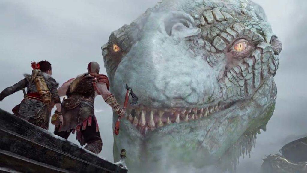 Kratos e Atreus evocano Jormungandr in God of War 4