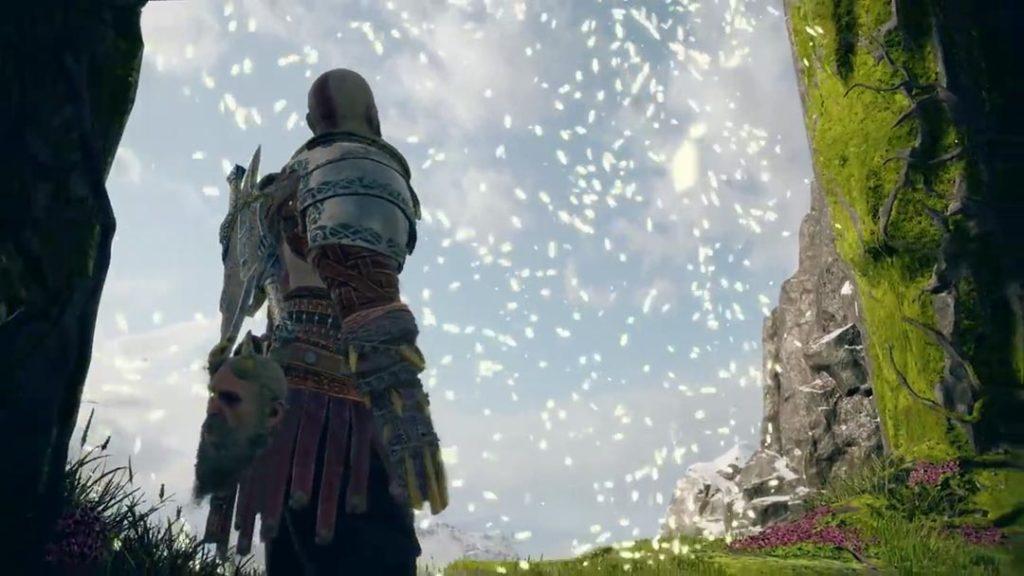 Kratos davanti al passaggio per Jotunheim, poco prima dell'agguato di Baldur
