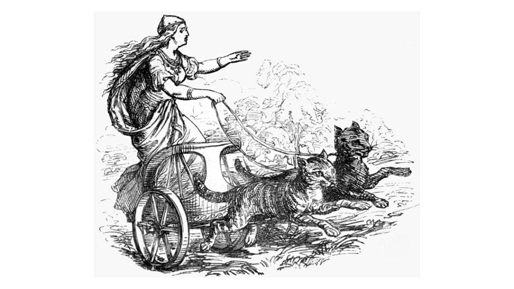 La dea Freya sul carro trainato da gatti Bygul e Trjegul - Ludwig Pietsch