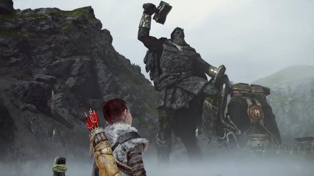 La statua di Thor nel Lago dei Nove, poco prima di essere divorata da Jormungandr