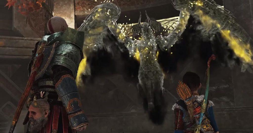 Kratos e Atreus fronteggiano una delle Valchirie di God of War 4