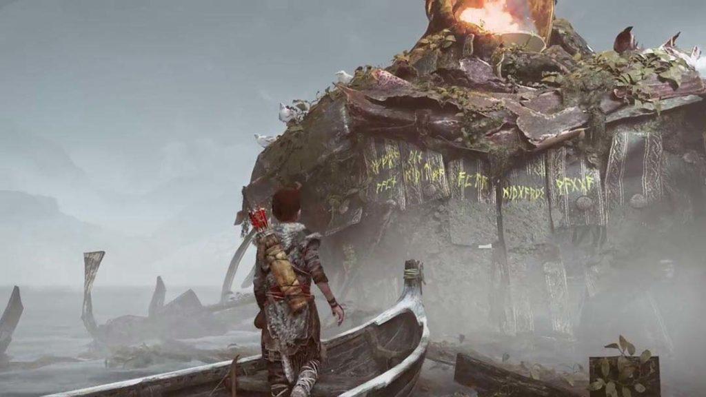 Atreus legge la misteriosa iscrizione sulla roccia al centro del Lago dei Nove