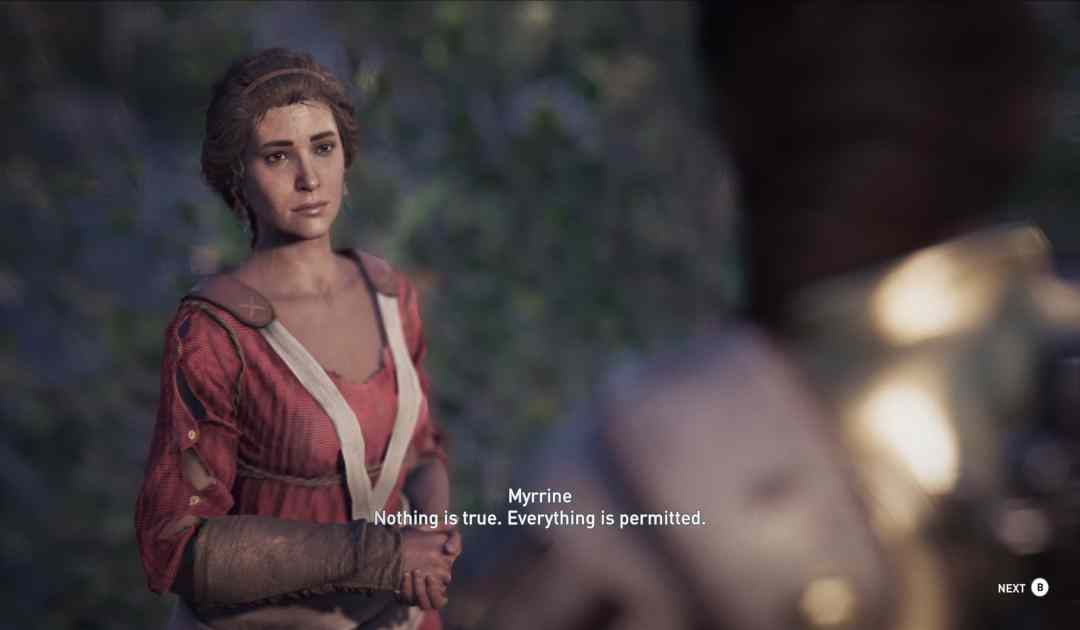 Screenshot di un dialogo da Assassins' Creed Odyssey