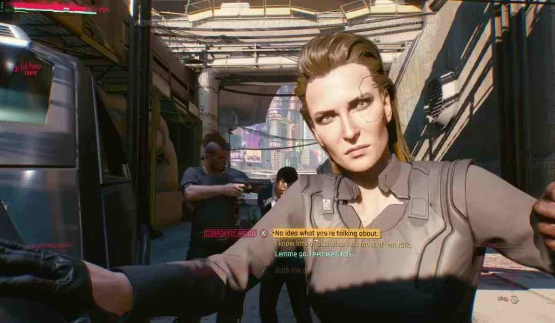 Screenshot tratto dal gameplay di Cyberpunk 2077 mostrato all'E3 2018