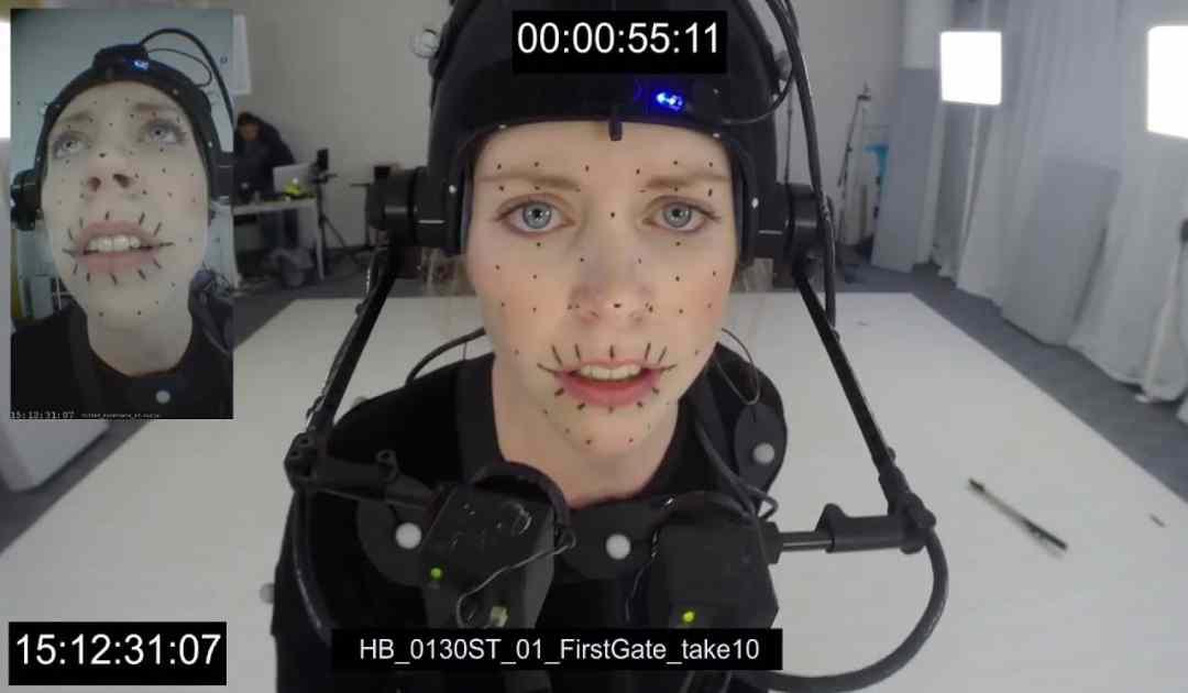 Fotografia dell'attrice Melina Juergens mentre effettua una ripresa di mocap