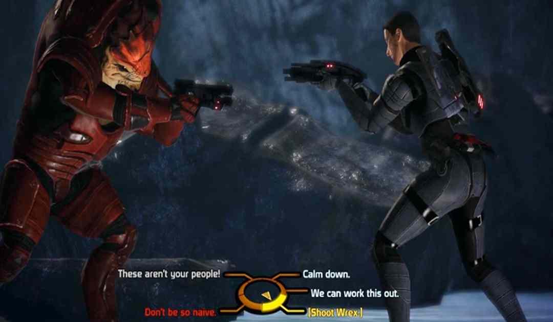 Screenshot da Mass Effect che mostra il dialogo finale con Wrex
