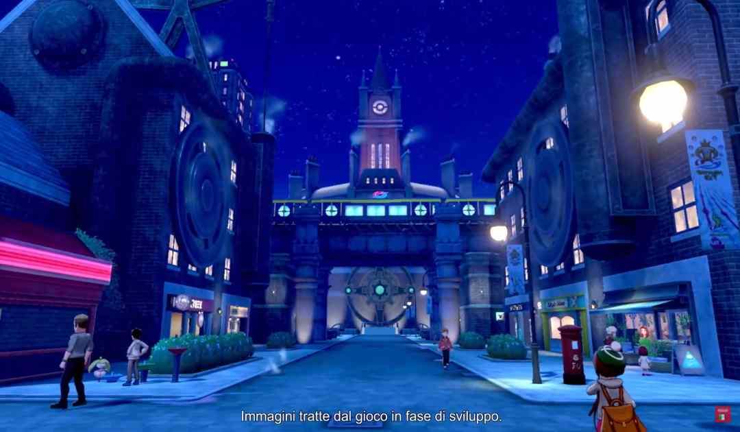 Screenshot di una città innevata dal trailer di Pokémon Spada&Scudo