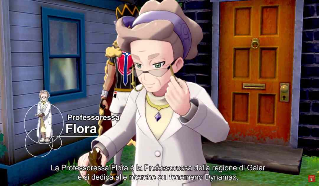 Screenshot della Professoressa Flora in Pokémon Spada&Scudo