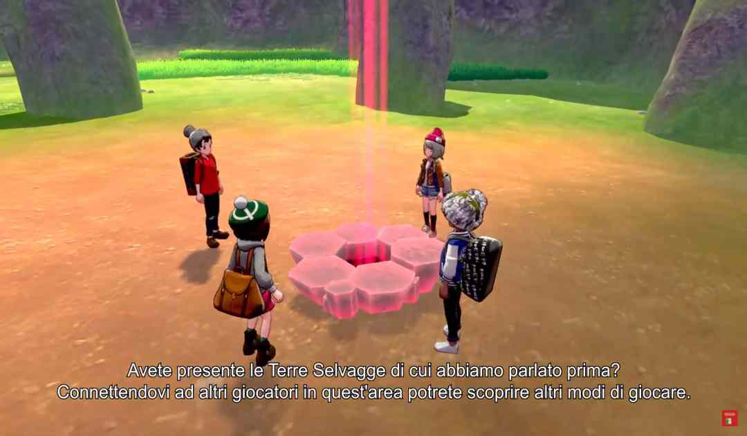 Screenshot dalla direct di Pokémon Spada&Scudo che mostra una sessione multiplayer