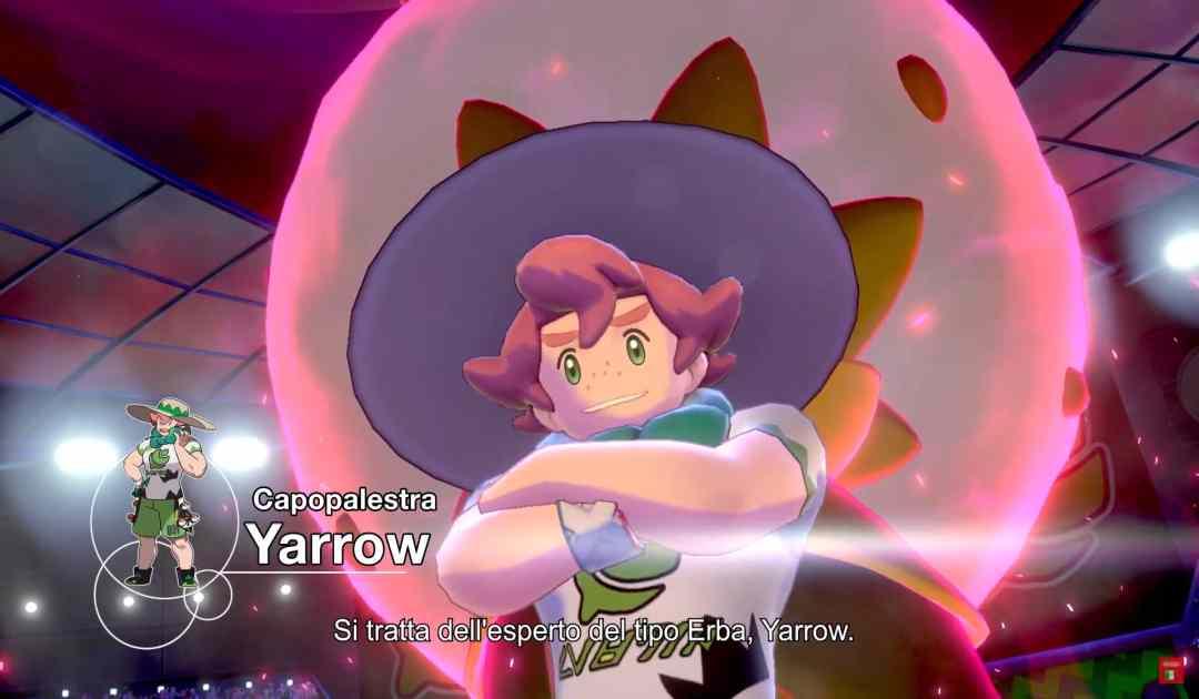 Screenshot di Yarrow, primo Capopalestra di Pokémon Spada&Scudo
