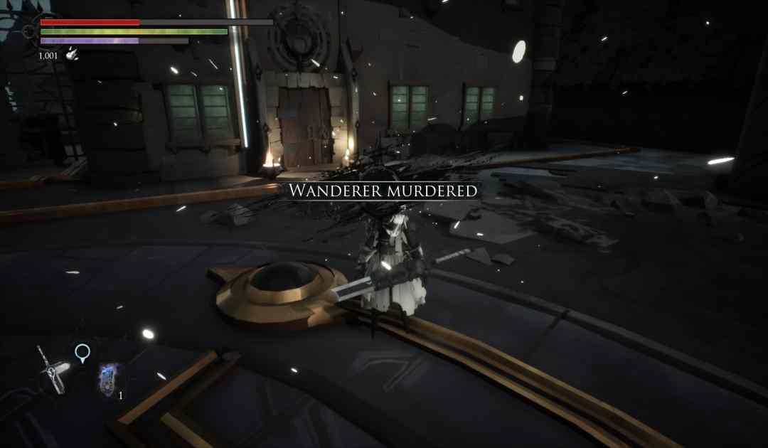 Screenshot da Shattered che dimostra l'uccisione di un boss