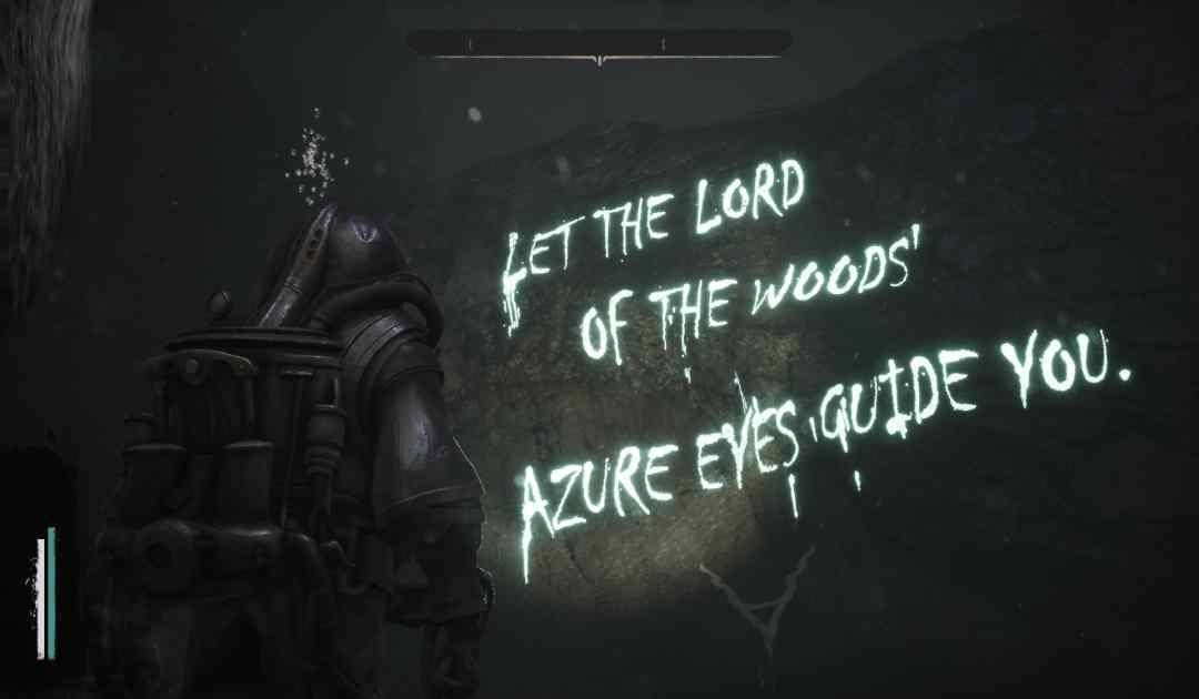 Screenshot da Sinking City che mostra una misteriosa scritta sul fondale marino