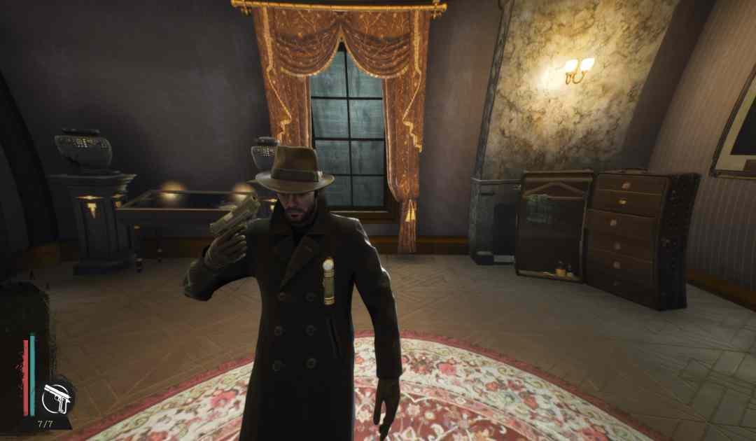 Screenshot da Sinking City che mostra il protagonista Charles Reed intento a suicidarsi dopo una forte perdita di lucidità mentale