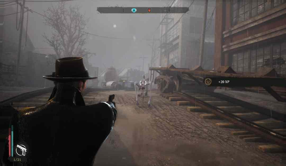 Screenshot da Sinking City che mostra un combattimento contro dei mostri