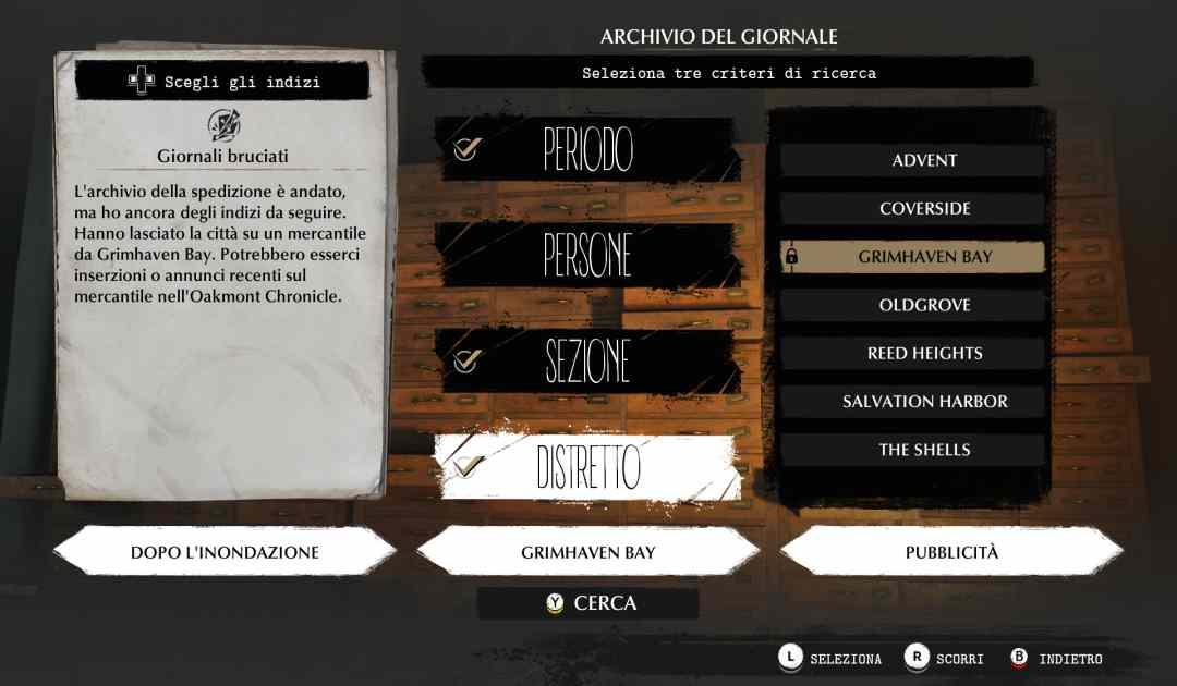 Screenshot da Sinking City che mostra come ottenere informazioni rovistando in un archivio pubblico