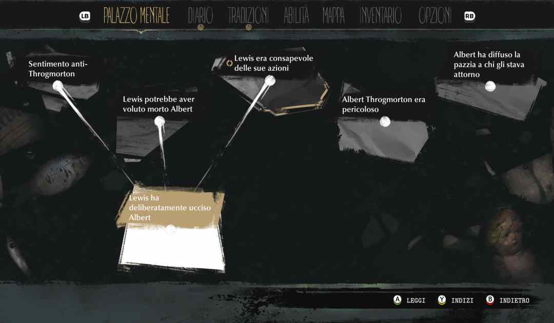 Screenshot da The Sinking City che mostra il Palazzo Mentale, dove collegare gli Indizi e giungere alle Deduzioni