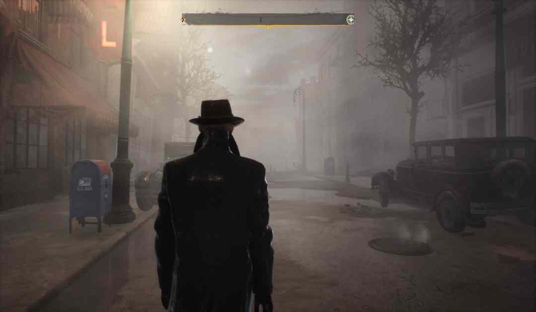 Screenshot da The Sinking City che mostra una strada desolata della città