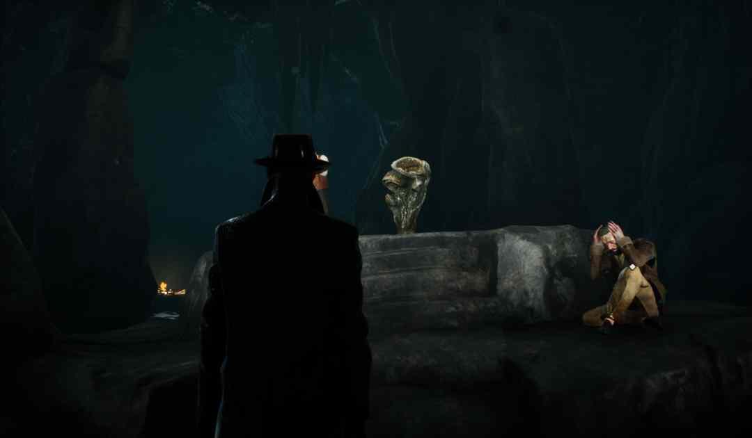 Screenshot da The Sinking City che mostra un idolo demoniaco