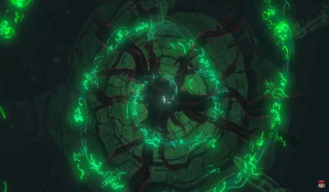 Screenshot di una misteriosa spirale di rune nel trailer di annuncio di Breath of the Wild 2