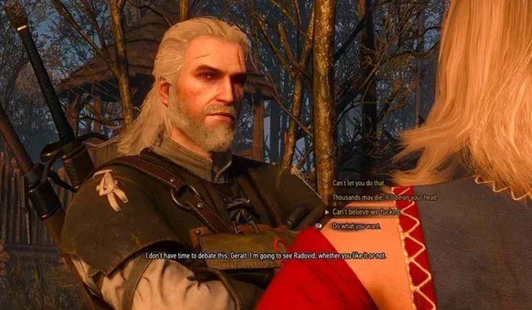 Screenshot da The Witcher 3 che mostra un dialogo