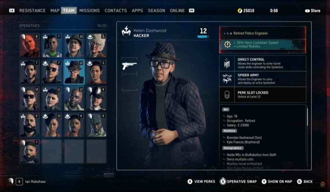 Screenshot da Watch Dogs Legion che mostra la selezione di personaggi