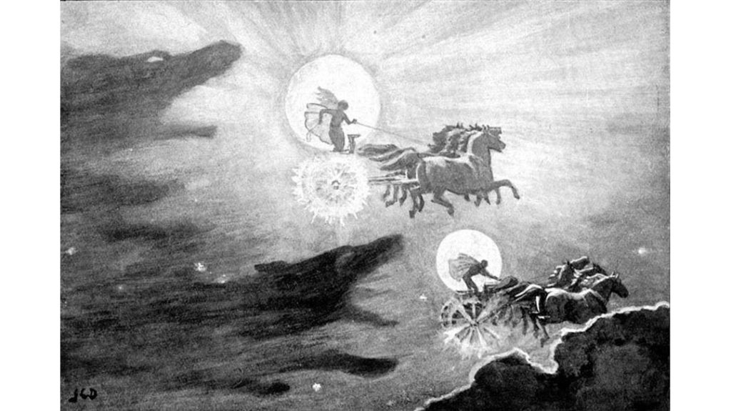 Sköll e Hati inseguono Sol e Mani - John Charles Dollman