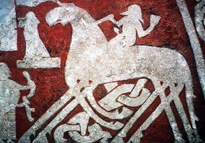 Sleipnir e Odino - pietra runica di Tjängvide