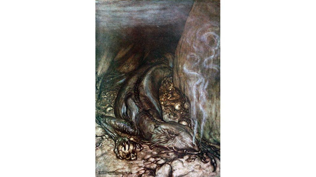 Un'illustrazione di Arthur Rackham, realizzata per l'opera Sigfrido di Richard Wagner, che raffigura Fáfnir