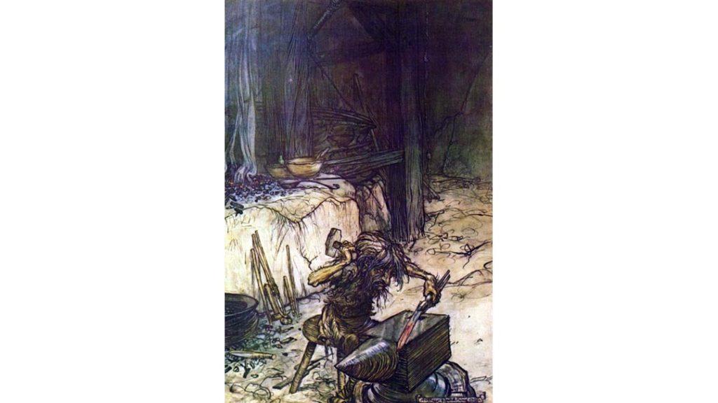 Un'illustrazione di Arthur Rackham, realizzata per l'opera Sigfrido di Richard Wagner, che raffigura Reginn